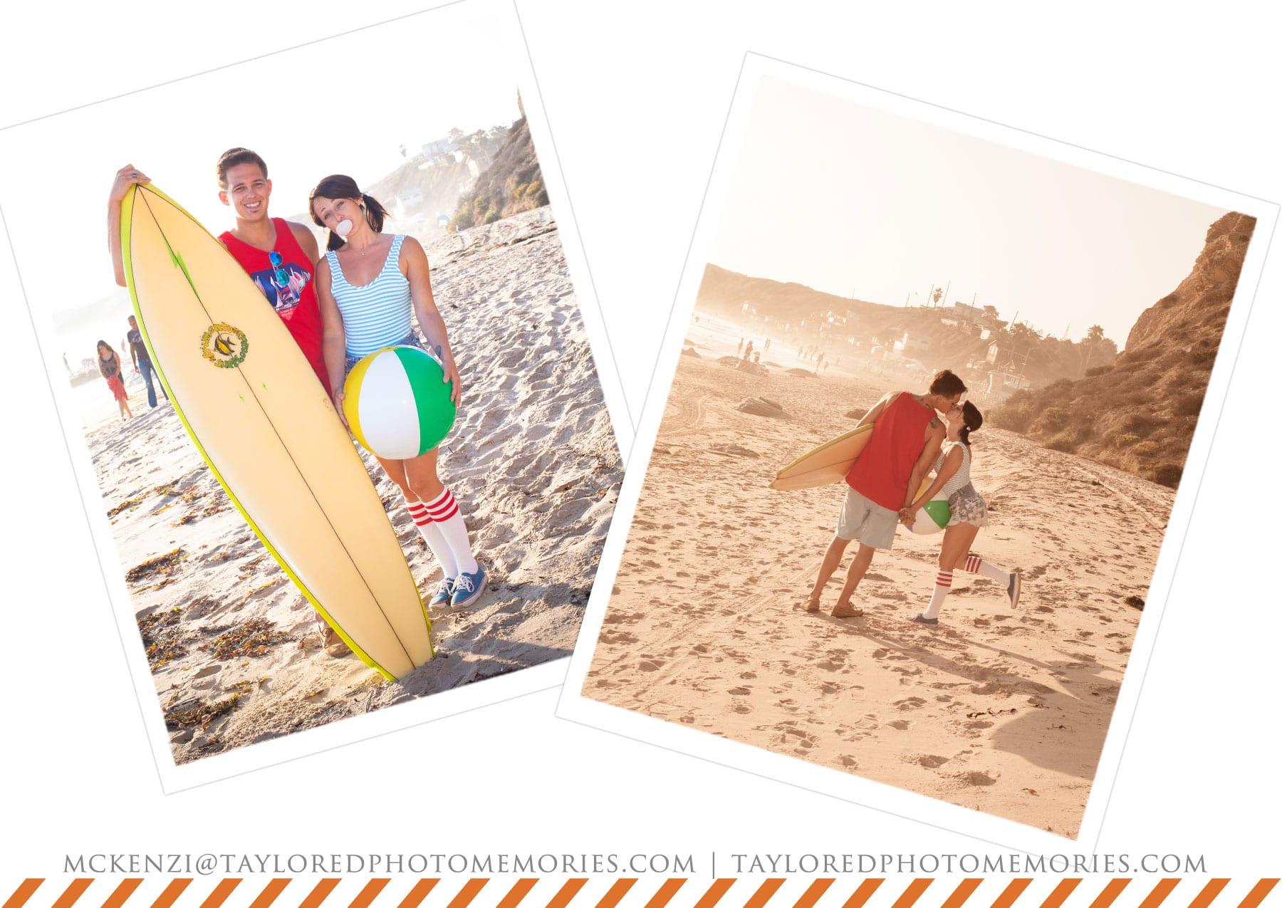 Las Vegas Elopement Photography | Retro Beach Engagement Session | Crystal Cove Cottages | Taylored Photo Memories