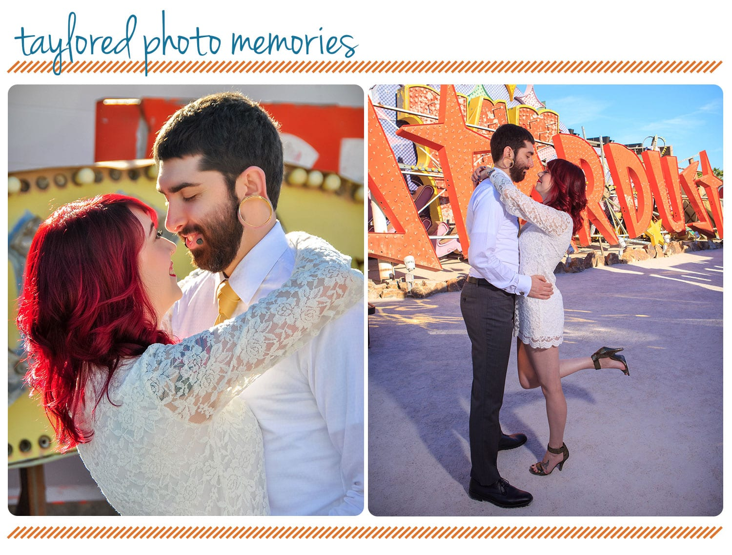 neon museum photo shoot | Las Vegas elopement photos