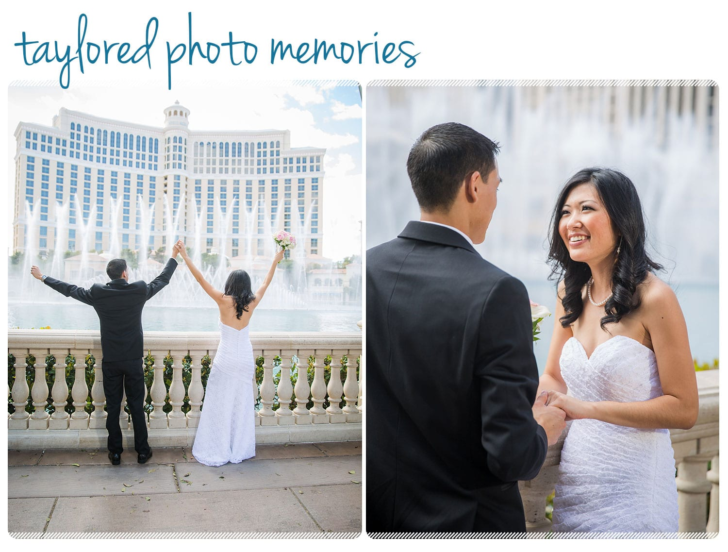 Couple from Hawaii chooses Las Vegas for their Destination Wedding. Strip Walking Tour -- Photos at Bellagio Fountains and Caesars Palace.