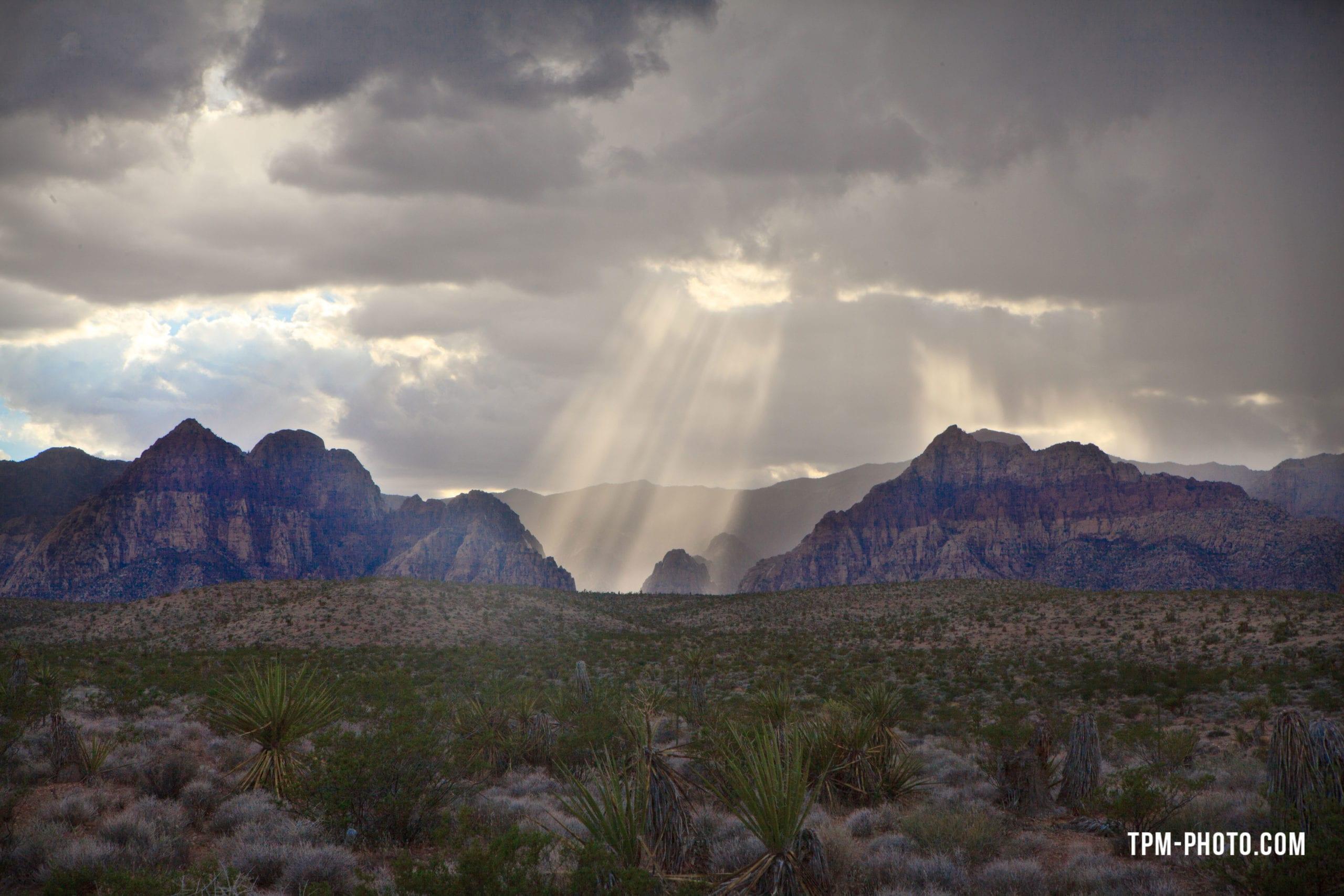 las vegas photographers, red rock rain shot